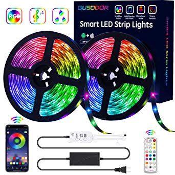 Amazon Com Gusodor Led Strip Lights Rgb Strips 32 8ft Tape Light 300 Leds Smd5050 Waterproof Music Sync Color Ch Led Strip Lighting Strip Lighting Tape Lights