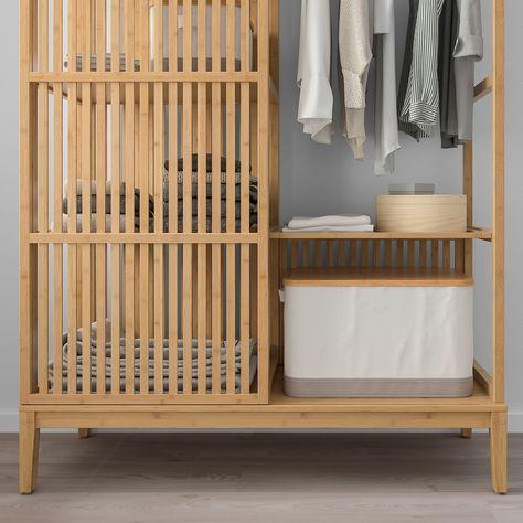 Ante Scorrevoli Ikea Su Misura.Nordkisa Guardaroba A Giorno Ante Scorrevoli Bambu 120x186 Cm
