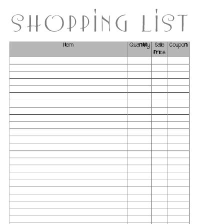 Coupon Friendly Shopping List Print Out  Couponing