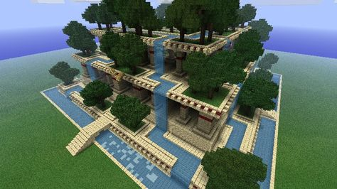 Picture result for the hanging gardens of babylon - Minecraft Ideas Villa Minecraft, Minecraft Mods, Minecraft Farmen, Architecture Minecraft, Construction Minecraft, Amazing Minecraft, Minecraft Houses Blueprints, Minecraft Tutorial, Minecraft Designs