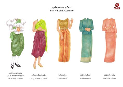 Thailand Costume, Thailand Outfit, Traditional Fashion, Traditional Outfits, Thai Fashion, Thai Dress, Thai Art, Thai Style, Drawing Clothes