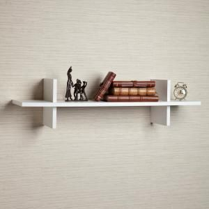 Danya B 31 In X 8 In White Laminated H Shaped Floating Wall Shelf Yu012w The Home Depot Wall Shelves Decor Floating Wall Shelves