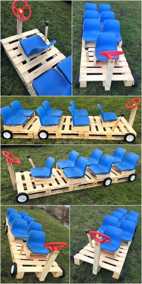 DIY Ideas for Wood Pallet Recycle Art Rethink your living space with this exceptional pallet kids bus. The best lifts up and forward making a multipurpose pallet structure so you can telecommute with kids or your kids take a bite while playing.