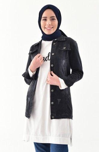Sefamerve Tesettur Siyah Kot Ceket Modelleri Moda Tesettur Giyim Siyah Kot Kot Ceket Moda Stilleri