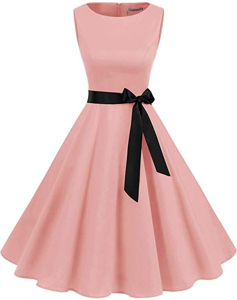 Gardenwed Women's Audrey Hepburn Rockabilly Vintage Dress Retro Cocktail Swing Party Dress Blush Source by aninnor dress cocktail Pretty Prom Dresses, Simple Dresses, Pretty Outfits, Homecoming Dresses, Cute Dresses, Beautiful Dresses, Casual Dresses, Short Dresses, Vintage 1950s Dresses
