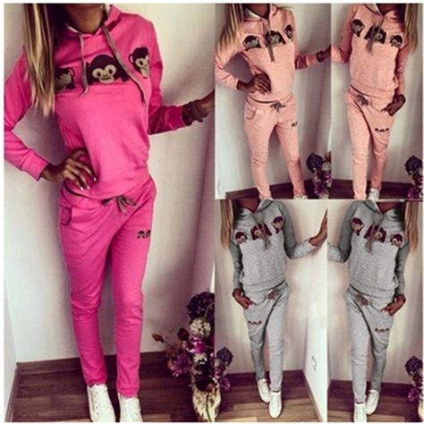 Buy Womens Casual Sport Tops Sweatshirt+Pants Sport Suit Sweat Suits Tracksuit at Wish - Shopping Made Fun