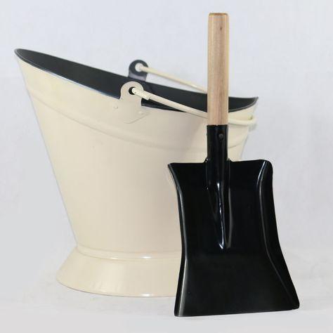 Vintage Fireside Log Coal Bucket Scuttle Firewood Hod Metal Carrier Shovel Set