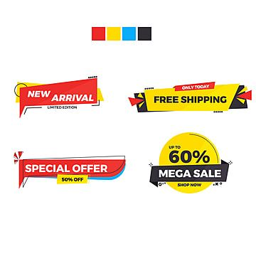 Sets Of Banner Sale Sticker Label Sale New Arrival Free Shipping Special Offer Mega Sale Banner Template Sale Sale Banner Free Png And Vector With Transpare Fikirler
