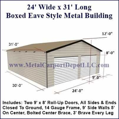 24 X 31 Steel Building Enclosed Metal Garage In 2020 Metal Buildings Steel Buildings Metal Carports