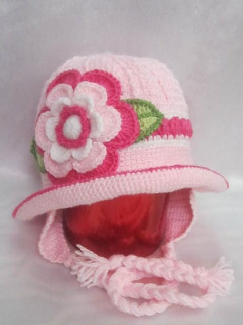 Knit Winter Girls Hat with brim ba2dcb6f542