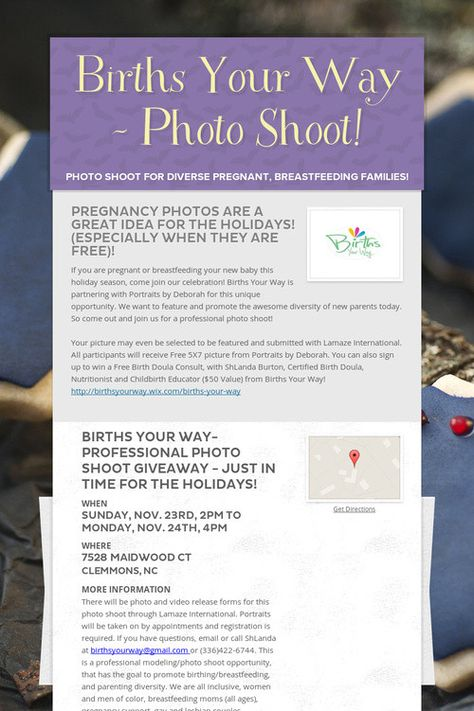 Births Your Way - Photo Shoot! Births Your Way - Reference Pins - video release forms