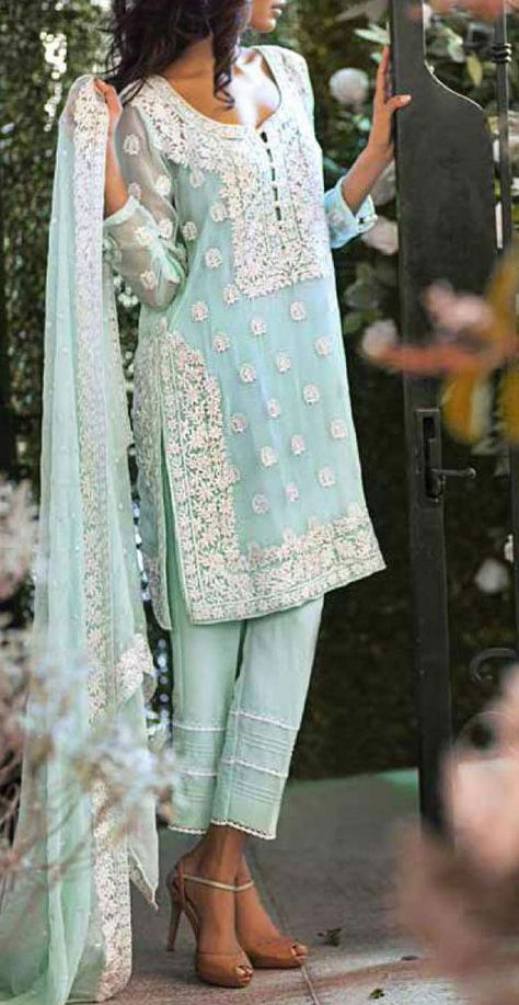 Buy Light Turquoise Embroidered Chiffon Dress by Mina Hasan 2015.