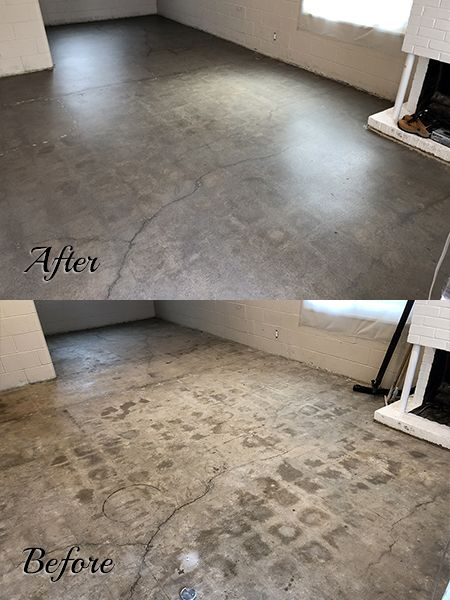 Honed And Sealed Concrete Floor Before And After The Floor Was Sealed With Creto Dps And Top Coated Flooring Finished Concrete Floors Concrete Floors Bedroom