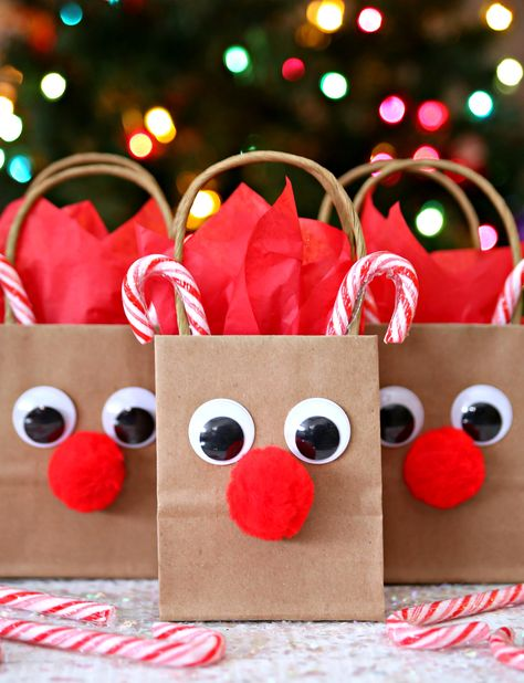Reindeer Gift Bags - A fun way to wrap all of your favorite holiday gifts.