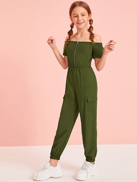 Girls Off Shoulder Zip Front Flap Pocket Side Jumpsuit – kidenhome - - Girls Off Shoulder Zip Front Flap Pocket Side Jumpsuit – kidenhome Source by kidenhome