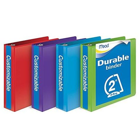 Mead 2 Inch Binder, D Ring Binder, Customizable, Assorted Colors, 4 Pack (W465-44APP) - Assorted