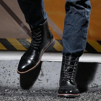Juqi Men Motorcycle Boots Fashion Ankle Boots Autumn Winter Men S