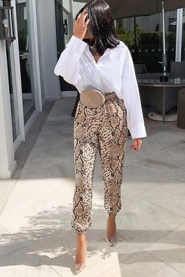 Womens Grey Beige Snake Print Tie Waist Cuffed Harem Trousers Jogger Pants RRP36