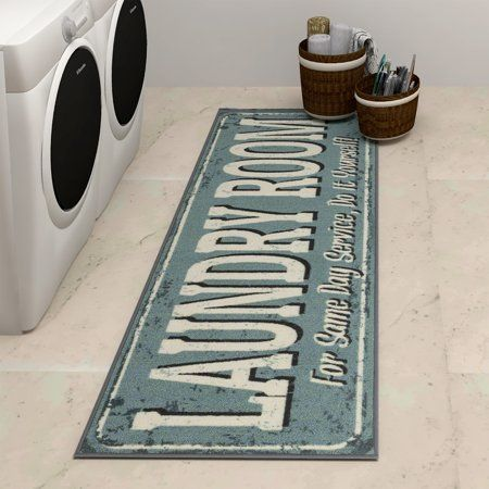 Ottomanson Laundry Collection Non Slip Laundry Mat Runner Rug 20