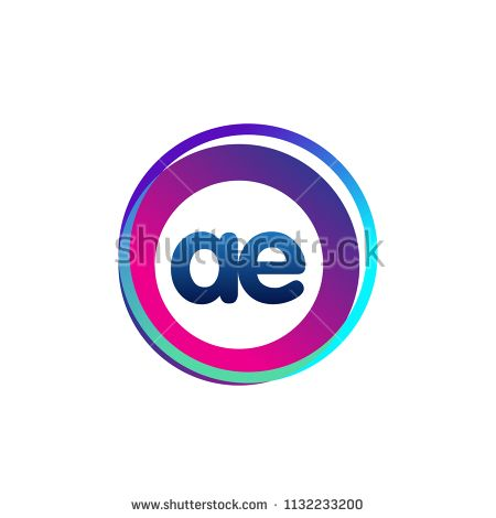 Letter Ae Logo With Colorful Circle Letter Combination Logo