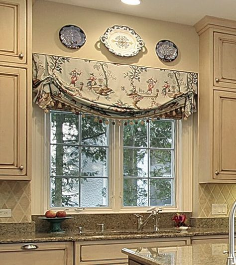 Custom Valances Over Kitchen Sinks: 8 Styles Explained Home, Kitchen Window Treatments, French Country Kitchen, Kitchen Sink Window, Window Design, Kitchen Curtains, Kitchen Window Curtains, Window Treatments Living Room, Custom Valances