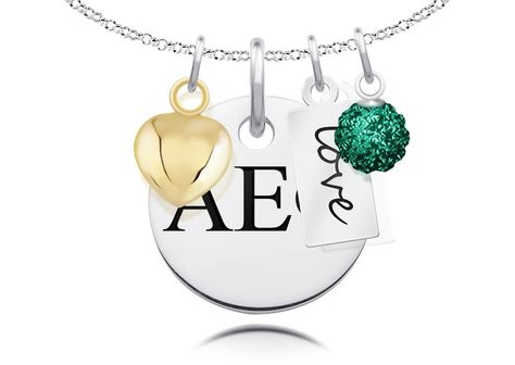 Alpha Epsilon Phi Greek Letters Necklace with Heart, Crystal, and Message Charm