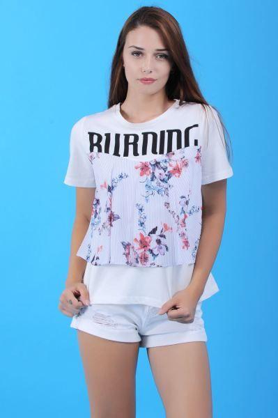 Bayan Tisort Burning Baskili Beyaz T Shirt Butik Kaliplari Kap Kisa Aksesuar Genc Hamile Style Modavigo Etnik Dikis Abiye Kadin Trendler Tisort