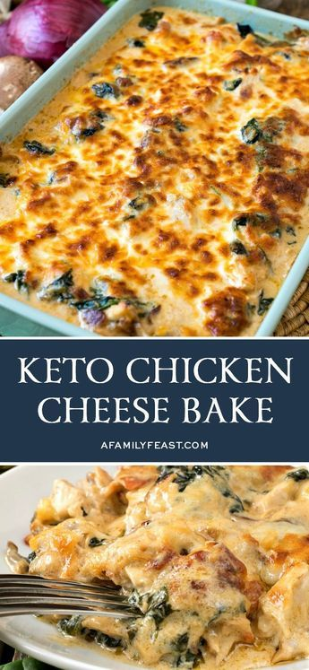 This Keto Chicken Cheese Bake is loaded with tender pieces of chicken, mushrooms, bacon and spinach in decadent cream sauce.