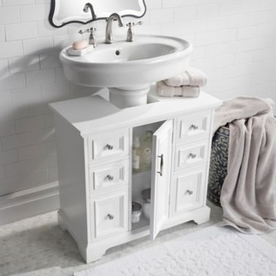 This Beautiful Cabinet Arrives Fully Assembled And You Can Choose The Marble Top Or Wood Top To Match Pedestal Sink Storage Bathroom Sink Storage Sink Storage