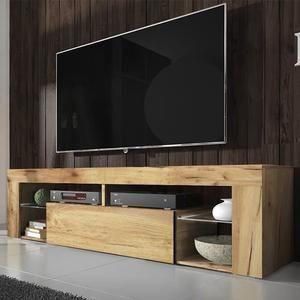 Meuble Tv Banc Tv Bianko 140 Cm Chene Lancaster Sans Led Style Moderne Tablettes En Verre Meuble Tv Meuble Tele Moderne Banc Tv