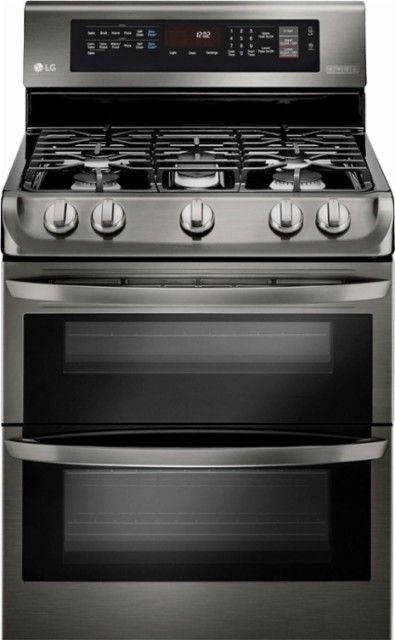 Best Buy Lg 6 9 Cu Ft Self Cleaning Freestanding Double Oven Gas Range With Probake Convection Printproof Black Stainless Steel Ldg4315bd Gas Range Double Oven Gas Double Oven Double Oven Range