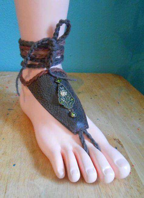 Barefoot Foot Jewelry, Flower Bead Ankle Wrap Toe Thong, Soleless Sandals, Foot Slave Bracelet, Boho Brown Faux Leather Toe Foot Harness