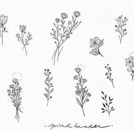 47 Trendy Ideas For Flowers Tattoo Drawing Simple Simple Flower Tattoo Flower Tattoos Flower Drawing Design