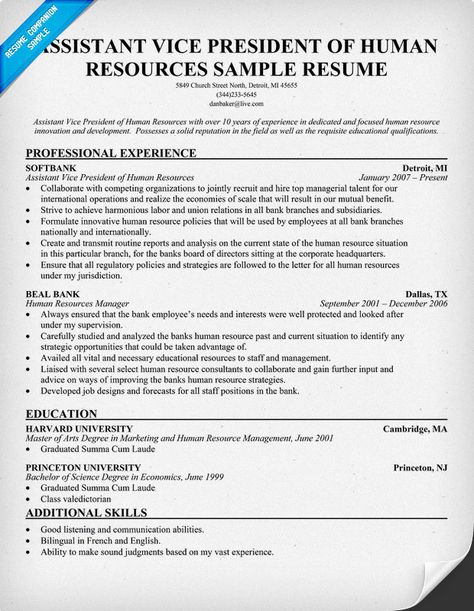 Vice President Of Human Resources Resume (resumecompanion) #HR