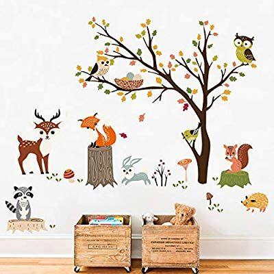 Amazon Com Decalmile Woodland Wall Decals Animals Tree Owl Fox