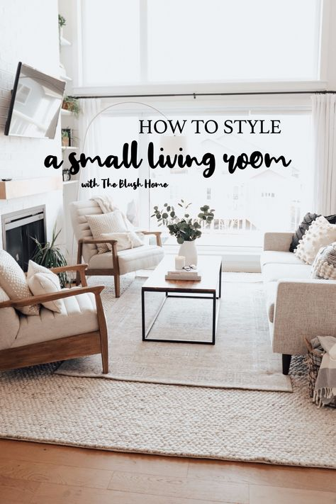 Tips for styling a small living room! How to make your home beautiful and cozy when you have young kids and white furniture! Small Condo Living, Small Living Room Layout, Condo Living Room, Narrow Living Room, Small Living Room Furniture, How To Design Living Room, Art In Living Room, Living Room Open Concept, Decorating Small Living Room