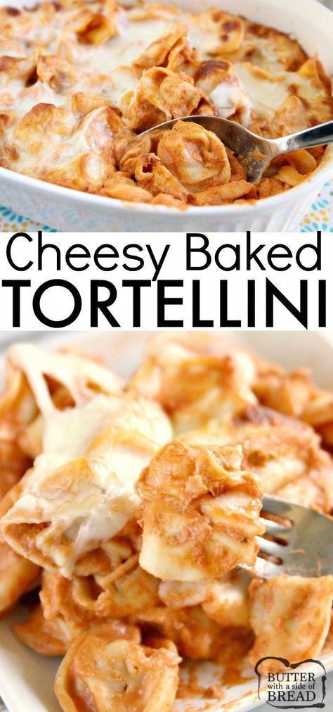 Cheesy Baked Tortellini is made with cream cheese, a jar of spaghetti sauce, cheese tortellini and mozzarella cheese. Only four ingredients in this easy pasta dish that is delicious! #pasta #tortellini #recipe #meatlessmonday #dinner #familyrecipes #tortellinirecipes