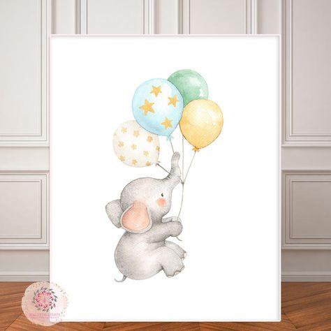 Boho Elephant Nursery Wall Art Print Balloons Stars Moon Ethereal Baby Girl Boy Gender Neutral Whimsical Zoo Animal Printable Decor