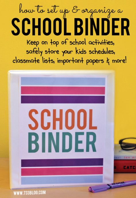 Great ideas from Seven Thirty Three for setting up and organizing a school binder to help mom and dad stay organized this school year!