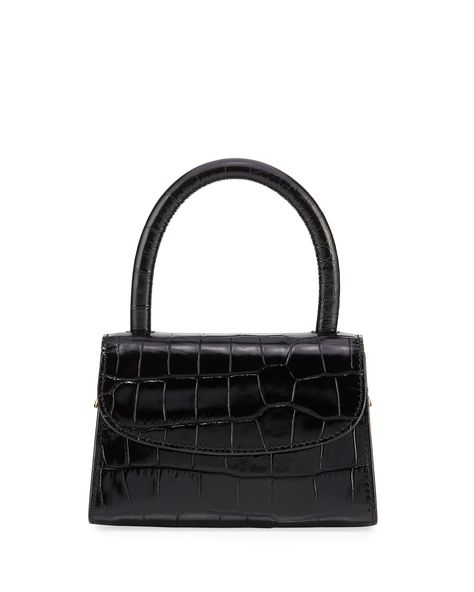 By Far Crocodile-Embossed Mini Top Handle Bag Aesthetic Bags, Pink Aesthetic, Mini Purse, Mini Bags, Mini Handbags, Black Leather Handbags, Cute Bags, Crocodile, Fashion Bags