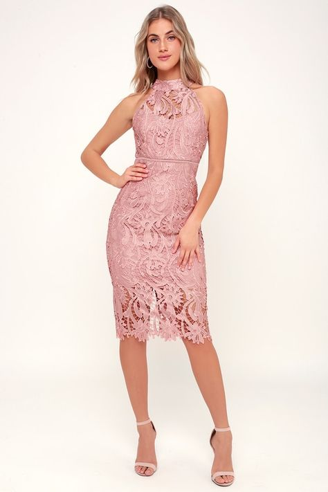 0b8ed11c1e8a Isla Pink Lace Halter Midi Dress in 2019 | Styles | Pink lace ...