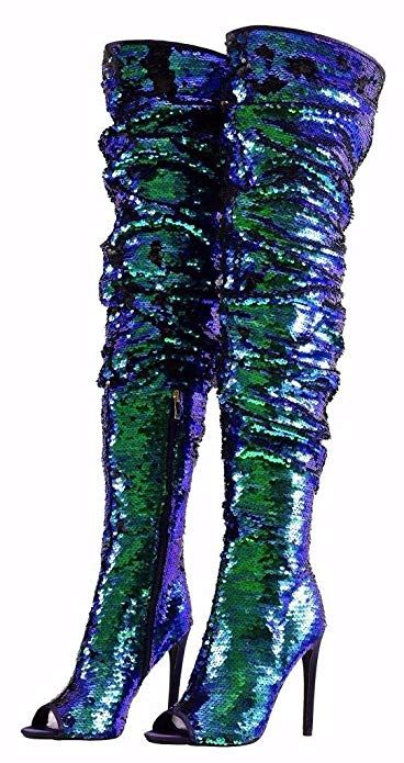 383153ceae68 Amazon.com | CAMSSOO Women's Fashion Peep Toe Sparkle Sequins Thigh High  Over Knee Pupms Heel Christmas Party Dance Boots | Boots