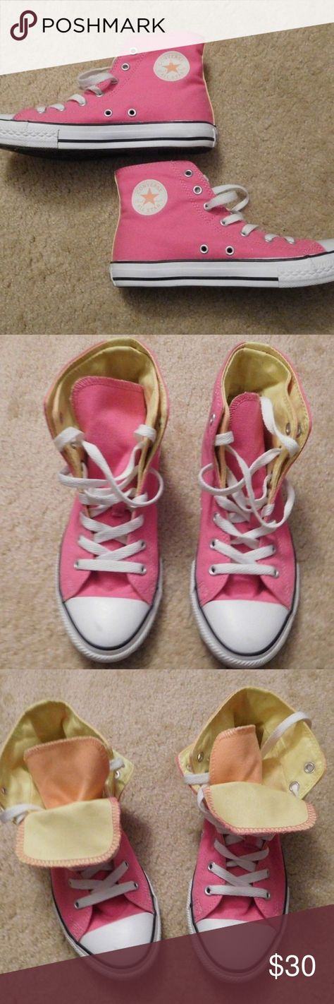 77f856b29e7709 EUC Converse Pink Yellow High Top Sneakers Excellent used condition