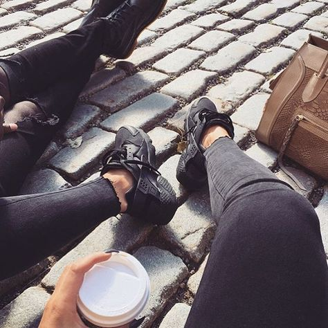 girl fashion outfit style clothes hair lips eyes beauty shoes high heels nike huarache