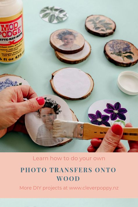 Learn how to Transfer your Photos onto Wood — Clever Poppy Mod Podge Crafts, Glue Crafts, Holiday Crafts, Crafts To Make, Diy Crafts, Photo Onto Wood, Photo Transfer Onto Wood, Picture On Wood Diy, Transfer Images To Wood