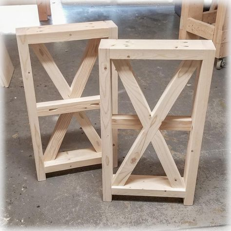 Unfinished DIY Farmhouse X-Style Table Legs | BUILD-YOUR-OWN TABLE - Large