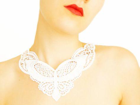 Ildilia handmade white crochet lace collar necklace applique