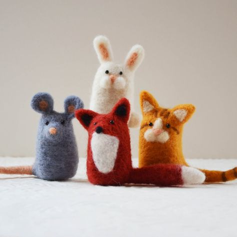 The Kitts family needle felted animals fiber art by TCMfeltDesigns