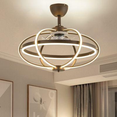 Modernism Oval Cage Ceiling Fan Light Acrylic Living Room 25 5 W Led Semi Flush Mount Lamp I Modern Ceiling Fan Ceiling Fan With Light Living Room Ceiling Fan