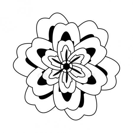 Flower Blossom Icon Cartoon Isolated In Black And White Stock